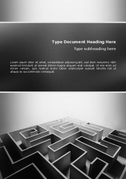 Gray Labyrinth Word Template, Cover Page, 02270, Business Concepts — PoweredTemplate.com