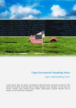 Free American Flag In Memorial Day Word Template, Cover Page, 02281, Holiday/Special Occasion — PoweredTemplate.com