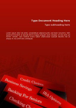 Savings and Credits Word Template, Cover Page, 02289, Business Concepts — PoweredTemplate.com