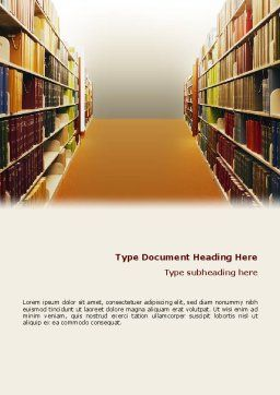 Library Book Shelves Word Template, Cover Page, 02303, Education & Training — PoweredTemplate.com