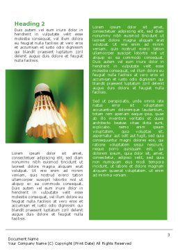 Badminton Word Template, Second Inner Page, 02308, Sports — PoweredTemplate.com
