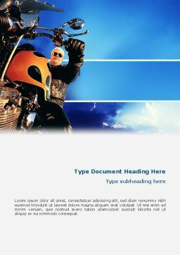 Biker Word Template, Cover Page, 02315, Cars/Transportation — PoweredTemplate.com