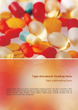 Pills In Collage Word Template, Cover Page, 02319, Medical — PoweredTemplate.com