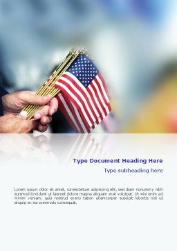 USA Flag Word Template, Cover Page, 02329, Flags/International — PoweredTemplate.com