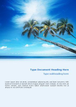 Palm Tree Word Template, Cover Page, 02331, Nature & Environment — PoweredTemplate.com