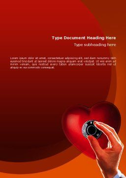 Key To Heart Word Template, Cover Page, 02333, Consulting — PoweredTemplate.com