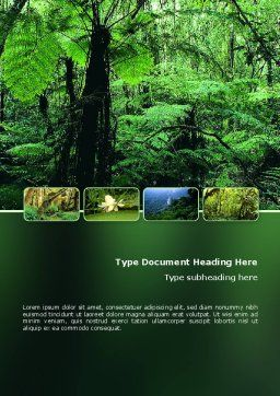 Tropical Forest Word Template, Cover Page, 02355, Nature & Environment — PoweredTemplate.com