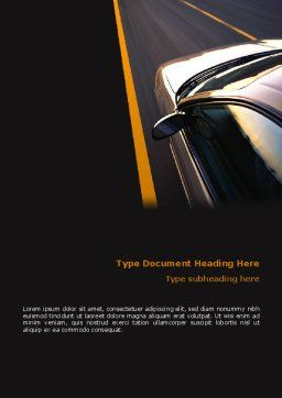 Car On Highway Word Template, Cover Page, 02358, Cars/Transportation — PoweredTemplate.com