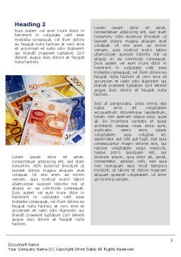 Euro Banknotes Word Template Second Inner Page