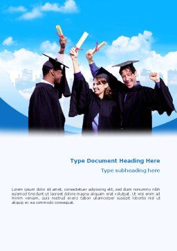 Graduators With Diploma Word Template, Cover Page, 02376, People — PoweredTemplate.com