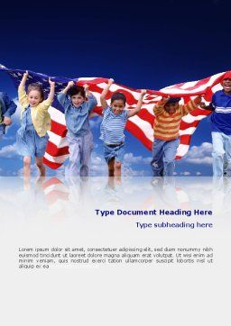 Children Of The USA Word Template, Cover Page, 02377, People — PoweredTemplate.com