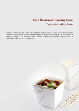 Chinese Food Word Template, Cover Page, 02378, Food & Beverage — PoweredTemplate.com
