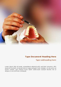 Denture Word Template, Cover Page, 02385, Medical — PoweredTemplate.com