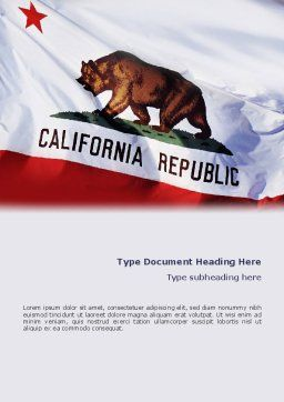 California State Flag Word Template, Cover Page, 02387, Flags/International — PoweredTemplate.com
