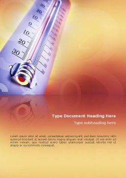 Thermometer Word Template, Cover Page, 02390, Utilities/Industrial — PoweredTemplate.com