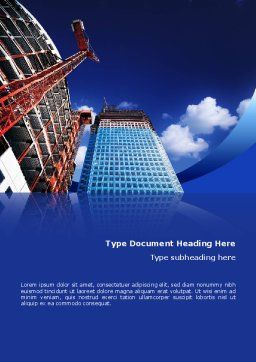 Building Company Word Template, Cover Page, 02402, Construction — PoweredTemplate.com