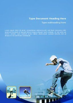 Skateboarding Word Template, Cover Page, 02405, Sports — PoweredTemplate.com