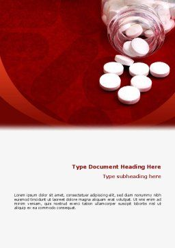 Pills From The Bottle Word Template, Cover Page, 02414, Medical — PoweredTemplate.com