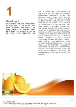 Orange Juice Word Template, First Inner Page, 02416, Food & Beverage — PoweredTemplate.com
