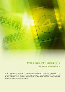 Film Strip In Light Yellow Green Colors Word Template Cover Page