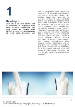 Glass Full Of Milk Word Template, First Inner Page, 02429, Food & Beverage — PoweredTemplate.com