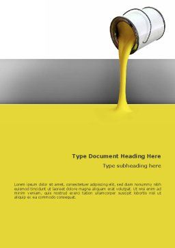 Yellow Paint Word Template, Cover Page, 02440, Utilities/Industrial — PoweredTemplate.com