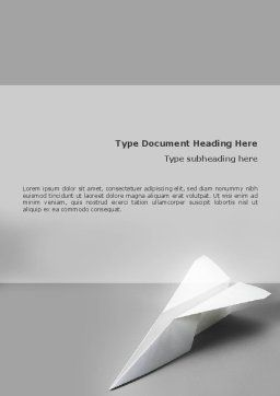 Paper Airplane Word Template, Cover Page, 02441, Construction — PoweredTemplate.com