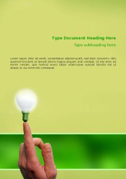 Lamp on Finger Word Template, Cover Page, 02453, Business Concepts — PoweredTemplate.com