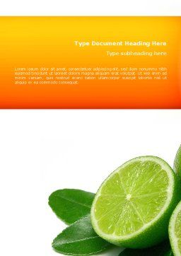 Lime Word Template, Cover Page, 02460, Food & Beverage — PoweredTemplate.com