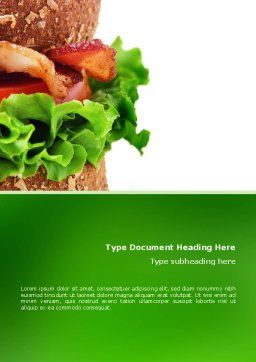 Burger Word Template, Cover Page, 02463, Food & Beverage — PoweredTemplate.com