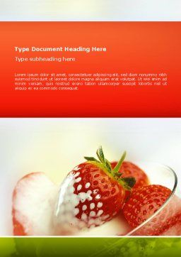 Strawberry Word Template, Cover Page, 02470, Food & Beverage — PoweredTemplate.com