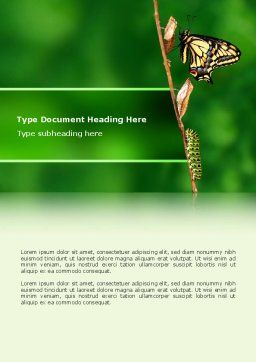 Butterfly And Caterpillar Word Template, Cover Page, 02471, Business Concepts — PoweredTemplate.com