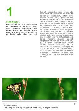 Butterfly And Caterpillar Word Template, First Inner Page, 02471, Business Concepts — PoweredTemplate.com