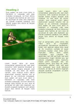 Butterfly And Caterpillar Word Template, Second Inner Page, 02471, Business Concepts — PoweredTemplate.com