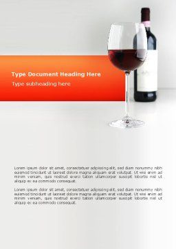 Bottle of Wine Word Template, Cover Page, 02476, Food & Beverage — PoweredTemplate.com