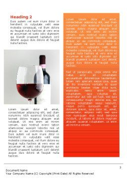 Bottle of Wine Word Template Second Inner Page
