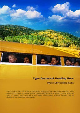 School Bus Word Template, Cover Page, 02478, People — PoweredTemplate.com