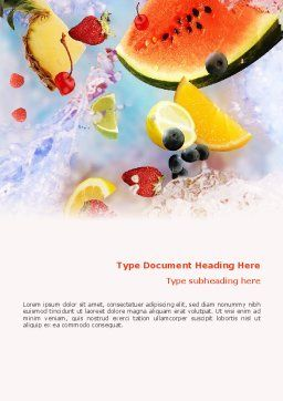Water Melon Word Template, Cover Page, 02481, Food & Beverage — PoweredTemplate.com