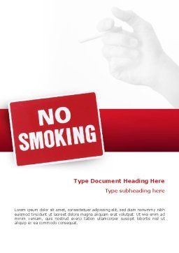 No Smoking Word Template, Cover Page, 02493, Medical — PoweredTemplate.com