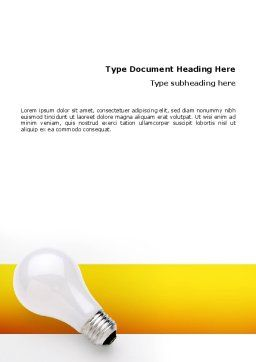 Lamp Word Template, Cover Page, 02494, Consulting — PoweredTemplate.com