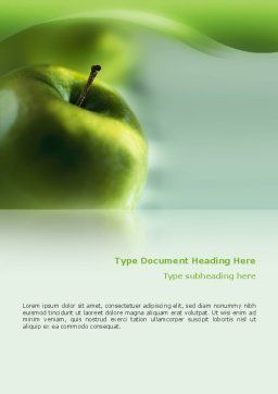 Green Apple On The Light Blue Background Word Template, Cover Page, 02496, Food & Beverage — PoweredTemplate.com