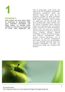 Green Apple On The Light Blue Background Word Template, First Inner Page, 02496, Food & Beverage — PoweredTemplate.com