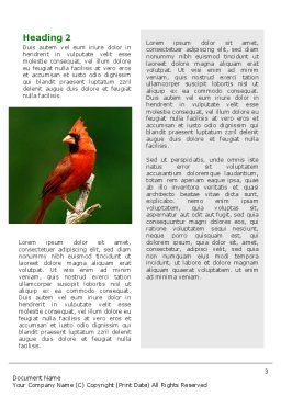 Cardinal Indiana State Bird Word Template, Second Inner Page, 02503, Agriculture and Animals — PoweredTemplate.com