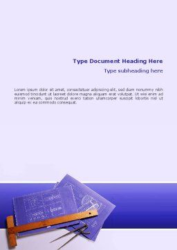 Blueprint Drawing Word Template, Cover Page, 02512, Construction — PoweredTemplate.com