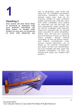 Blueprint Drawing Word Template, First Inner Page, 02512, Construction — PoweredTemplate.com