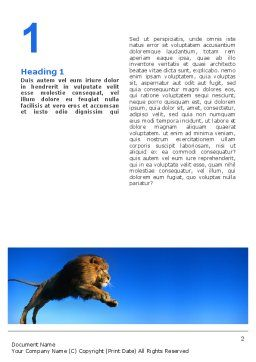 Lion Word Template, First Inner Page, 02519, Agriculture and Animals — PoweredTemplate.com