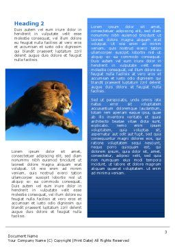 Lion Word Template, Second Inner Page, 02519, Agriculture and Animals — PoweredTemplate.com