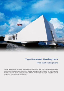 USS Arizona Word Template, Cover Page, 02529, America — PoweredTemplate.com