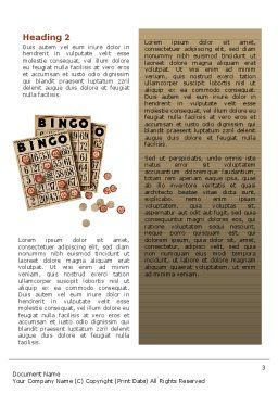 Bingo Word Template Second Inner Page
