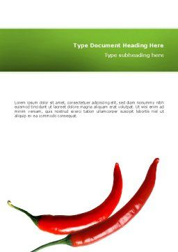 Hot Pepper Word Template, Cover Page, 02550, Food & Beverage — PoweredTemplate.com